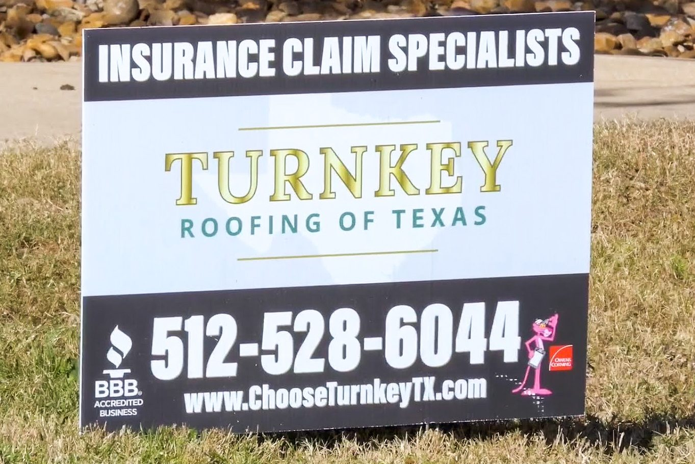 Turnkey Roofing of Texas sign.